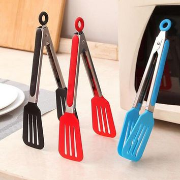 1Pcs PP Stainless Steel BBQ Cooking Utensils Food Salad Serving Tongs Kitchen Tools