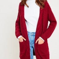 late at night open front cable knit cardigan sweater - burgundy