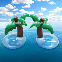 2017 Summer Cute Drink Can Holder PVC Inflatable Floating Coconut Trees Swimming Pool Bathroom Beach Water Drink Holder