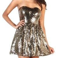 Sweetheart Sequin Dress - Gold