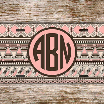 Monogrammed license plate personalized car tag - Aztec tribal design with soft pinks, taupes and brown - monogram gift for girls (1270)