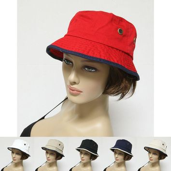 New Bucket Hat Cap 100% Cotton Fishing 2 Tone Brim Hiking Sun Safari Womens Mens