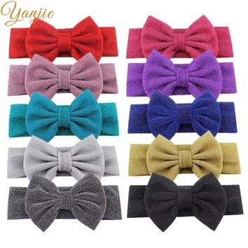 "1PC 2018 Hot-sale Glitter Messy 5"" Hair Bow Infantile Kids Elastic Headband Headwraps Hair Bow Little Girl Accessories Bandana"