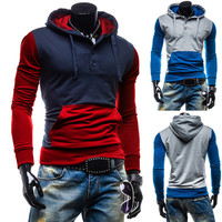 Color Contrast Slim Fit Pullover Hoodie