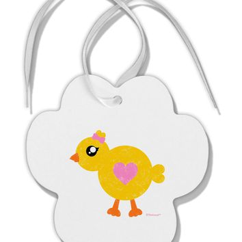 Cute Chick with Bow - Crayon Style Drawing Paw Print Shaped Ornament by TooLoud