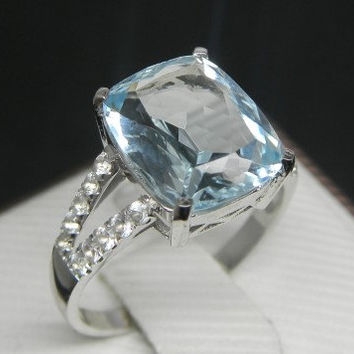 BLACK FRIDAY Sale 10% off (coupone: blackfriday) expires Nov 30 - Engagement Ring - 4 Carat Aquamarine Ring With Diamonds In 14K White Gold