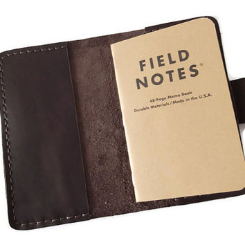 Field Notes Cover, Travel Journal, Field Notes Wallet, Notes Cover, Moleskine Cover, Brown,  Black Italian Full Grain Leather, Hand Stitched