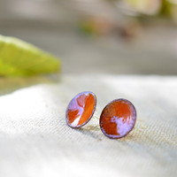 Enamel post earrings - round stud earrings - bright orange earrings - enamel jewelry by Alery