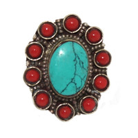 Oval Coral Turquoise ring