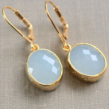 Ice Blue Earrings, Framed Glass, Blue Glass Stone, Gold Fill Lever Back, Oval Pendant, Bridesmaid Earrings, Bridal Jewelry, Winter Bride