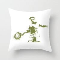 Roger Federer Wimbledon Tennis Throw Pillow by DanielBergerDesign