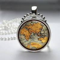 Photo Art Glass Bezel Pendant Globe Map Necklace