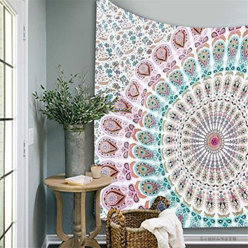 Indian Mandala Tapestry 210X145cm Wall Hanging Bedspread Throw Blanket Picnic Mat Beach Towel Home Room Dorm Art Wall Decor