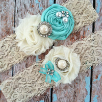 KEEPSAKE ONLY -NO toss / tiffany blue  / bridal  garter/   Something BLue wedding garter / vintage inspired lace garter
