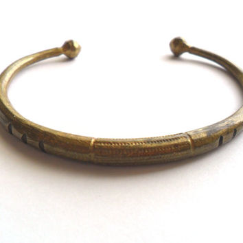 Vintage Tribal Brass Cuff Bracelet Carved Etched Engraved Design Tuareg Ethnic Boho Gypsy Festival Fashion Kuchi Style Africa India