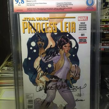 Princess Leia #1 CBCS 9.8 NM/Mint Signed 5x, Carrie Fisher