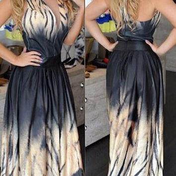 High Quality Halter Design Print Pattern Maxi Dress