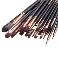 Unimeix 20 Pcs Pro Makeup Set Powder Foundation Eyeshadow Eyeliner Lip Cosmetic Brushes (Coffe) ...