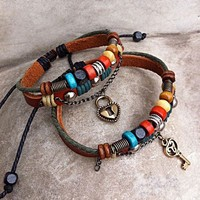 Handmade Couple Leather Bracelets- Key To Heart