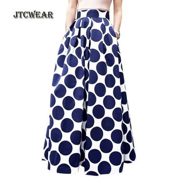 JTCWEAR Tunic Pleated Blue Polka Dot Lady Long Skirts Vintage Elegant Flare Party Club Casual Fashion Woman Swing Skirt 382