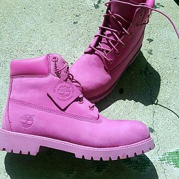 Timberland Rhubarb boots for men and women shoes waterproof Martin boots lovers Roses-1