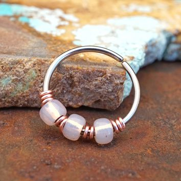 Rose Colored Opalescent Beaded Nose Hoop