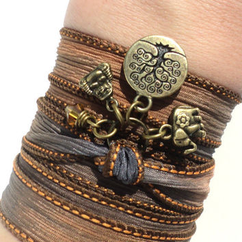 Bohemian Silk Wrap Bracelet Buddha Tree of Life Yoga Jewelry Boho Upper Arm Band Ganesha Earthy Unique Gift