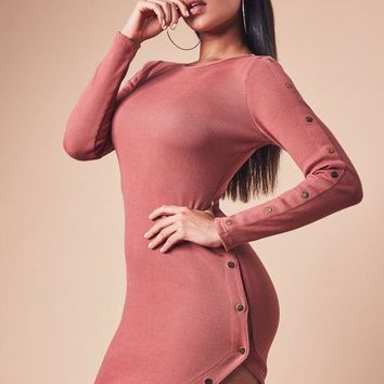 Missguided - Rust Ribbed Long Sleeve Asymmetric Popper Dress