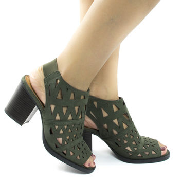 Fashion Khaki F-Suede by Soda, Khaki Suede Geometric Cut Out Stacked Heel Sling Back Mule Sandals