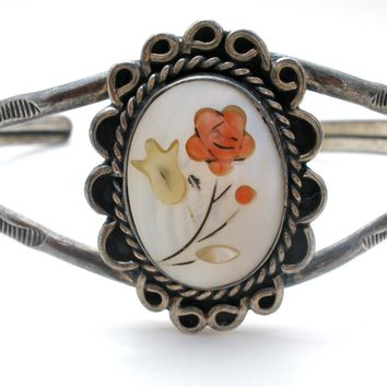 Sterling Silver Cuff Bracelet with MOP Flowers Vintage
