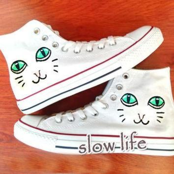 VONR3I Poppy Cat-painted shoes/Converse canvas shoes/Custom canvas shoes/Sneakers/graffiti sh