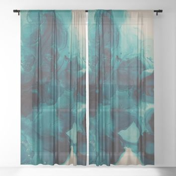 For Teal Sheer Curtain by duckyb