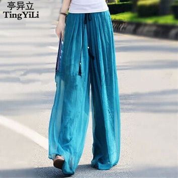 TingYiLi Palazzo Pants Women Summer Casual Pants High Waist Loose Flare Wide Leg Pants