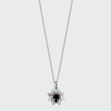 Protea Charm Necklace with Stone - silver/thai garnet