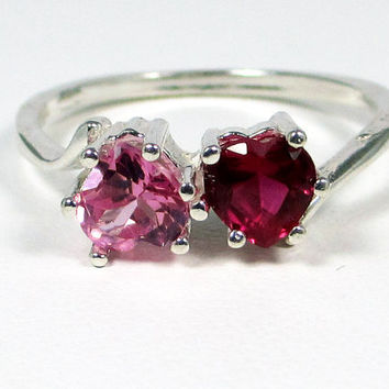 Pink Sapphire Ruby Double Heart Gemstone Sterling Silver Ring
