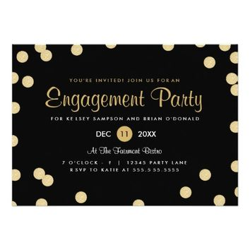 "Faux Gold Confetti Engagement Party Invite 5"" X 7"" Invitation Card"