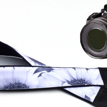 Personalized Black and white DSLR / SLR Camera Strap. Flowers Camera Strap. Camera accessories. Sunflowers. For Nikon, Sony, Canon ...