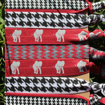 7 Pack Alabama Red Gray HOUNDSTOOTH chevron Print Elephant Bama Crimson White Hair Ties Stretch Fold Over Elastic FOE Pony Tail