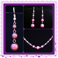 Set of Purple Chained Earrings and Necklace