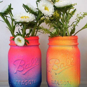 Set of 2 Neon Pink and Yellow Ombre Galaxy Mason Jar- Cosmic Inspired - Gorgeous Handmade - Super Unique One-of-a-kind