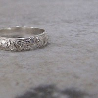 Silver Floral Ring Silver Wedding Ring Wedding Band Engraved Promise Rings Purity Rings Antique Wedding Bands