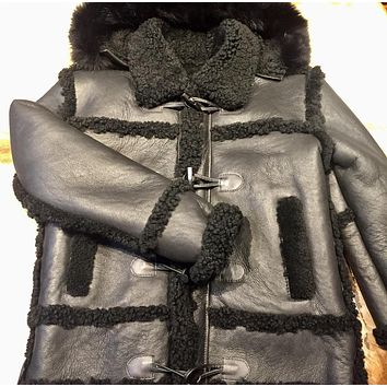 Black Hooded Shearling Jacket
