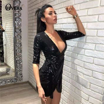 Ohvera 2018 Wrap Sexy Dress Women Half Sleeve Autumn Dress Elegant Gold Black Mini Sequin Party Dresses 2018 Vestidos