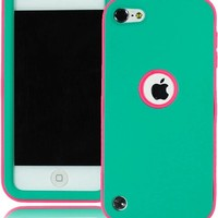 Bastex Heavy Duty Hybrid Case for Apple Ipod Touch 5 - Hot Pink Soft Silicone Cover Surrounded by Hard Teal Shell ***INCLUDES SCREEN PROTECTOR AND STYLUS***