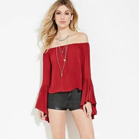 Red Off Shoulder Horn Sleeve Shirt  12404