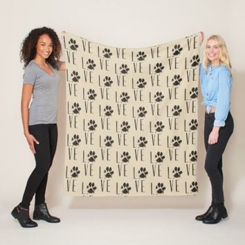 Pet Paw Print Love Typography Pattern Fleece Blanket