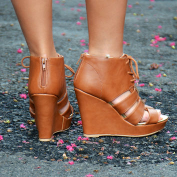 Lena wedge, cognac
