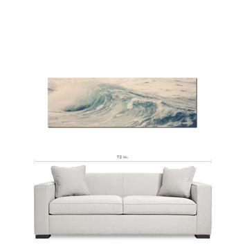 Ocean Wave Canvas - Beach House Decor - Nautical Canvas - Navy Blue White - Large Canvas - 20 x 60 Canvas - Panoramic Canvas - Photo Canvas