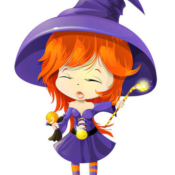 Cute Witch Image, Halloween Witch Image, Purple Witch Image, Large Halloween Witch Poster, Wall Décor, Kids Room, Nursery Décor, Home Décor