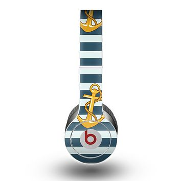The Navy Striped with Gold Anchors Skin for the Beats by Dre Original Solo-Solo HD Headphones